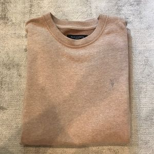 AllSaints heather pink crew neck sweater